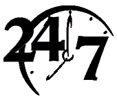 WOL 24/7 BLACK CLOCK