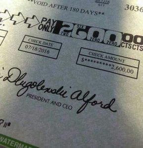 WOL $2600 CHECK